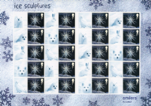 Christmas Ice Sculptures 1st Class Stamps Sheet of 20 with labels - FV £14.00